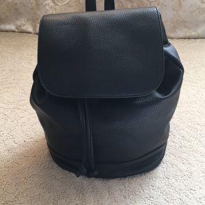 Handbags - Black Leather Backpack with Adjustable Straps